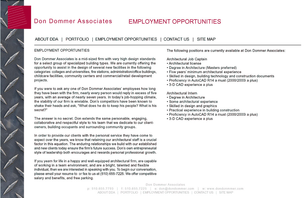 Employment opportunities at Don Dommer Associates